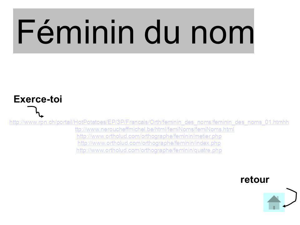 Féminin du nom http://www.rpn.ch/portail/HotPotatoes/EP/3P/Francais/Orth/feminin_des_noms/feminin_des_noms_01.htmhh ttp://www.neroucheffmichel.be/html/femiNoms/femiNoms.html http://www.ortholud.com/orthographe/feminin/metier.php http://www.ortholud.com/orthographe/feminin/index.php http://www.ortholud.com/orthographe/feminin/quatre.php retour Exerce-toi