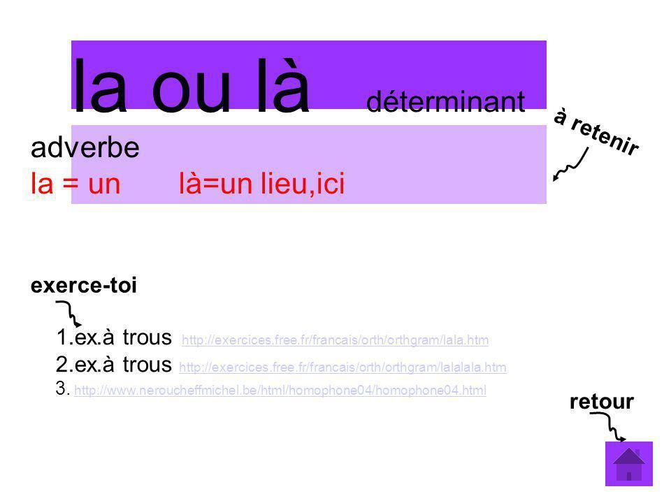 la ou là déterminant adverbe la = un là=un lieu,ici 1.ex.à trous http://exercices.free.fr/francais/orth/orthgram/lala.htmhttp://exercices.free.fr/fran