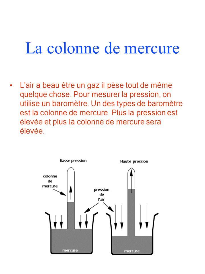 La colonne de mercure L air a beau être un gaz il pèse tout de même quelque chose.