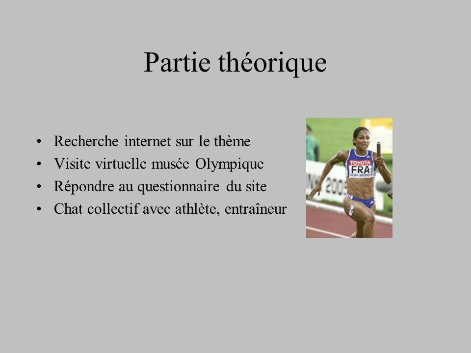 Partie théorique Recherche internet sur le thème Visite virtuelle musée Olympique Répondre au questionnaire du site Chat collectif avec athlète, entraîneur