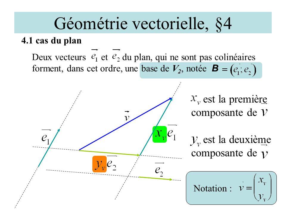 Géométrie vectorielle, §4 4.1 cas du plan Deux vecteurs et du plan, qui ne sont pas colinéaires forment, dans cet ordre, une base de V 2, notée B. est