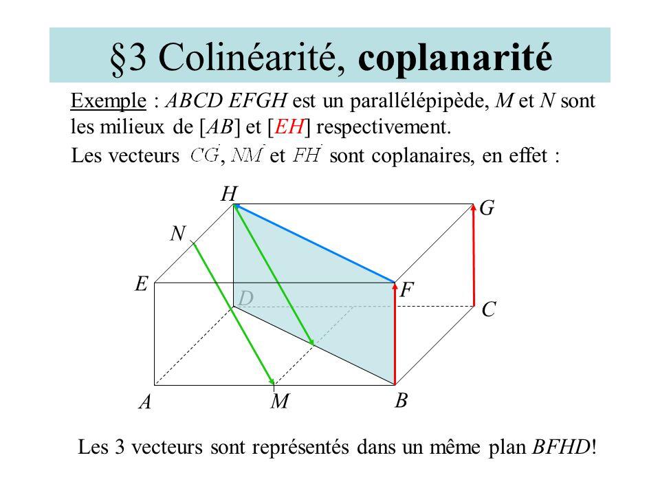 §3 Colinéarité, coplanarité Des vecteurs de lespace sont dits coplanaires sil est possible de les représenter dans un même plan. Les vecteurs, et sont