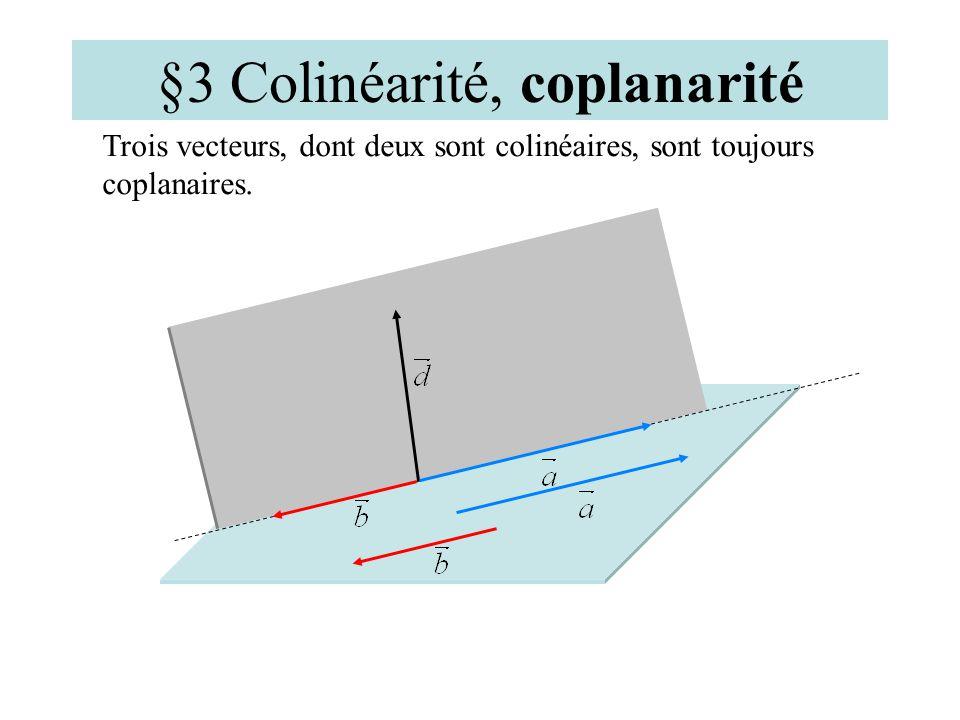 §3 Colinéarité, coplanarité Remarques : Deux vecteurs sont toujours coplanaires. Les vecteurs et sont coplanaires;