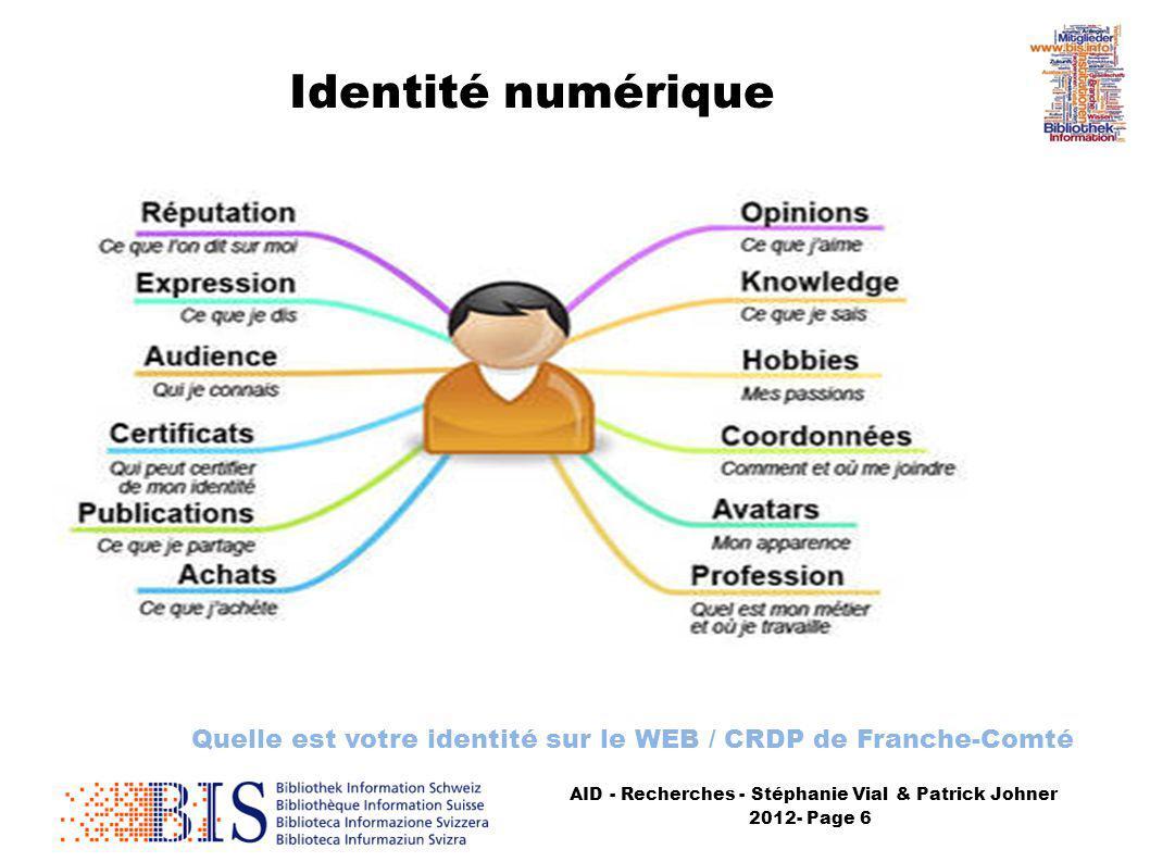 AID - Recherches - Stéphanie Vial & Patrick Johner 2012- Page 6 Identité numérique Quelle est votre identité sur le WEB / CRDP de Franche-Comté