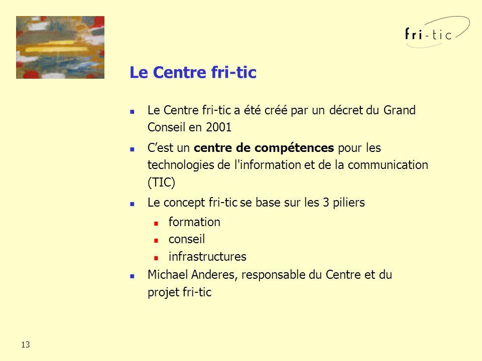13 Le Centre fri-tic a été créé par un décret du Grand Conseil en 2001 Cest un centre de compétences pour les technologies de l information et de la communication (TIC) Le concept fri-tic se base sur les 3 piliers formation conseil infrastructures Michael Anderes, responsable du Centre et du projet fri-tic Le Centre fri-tic