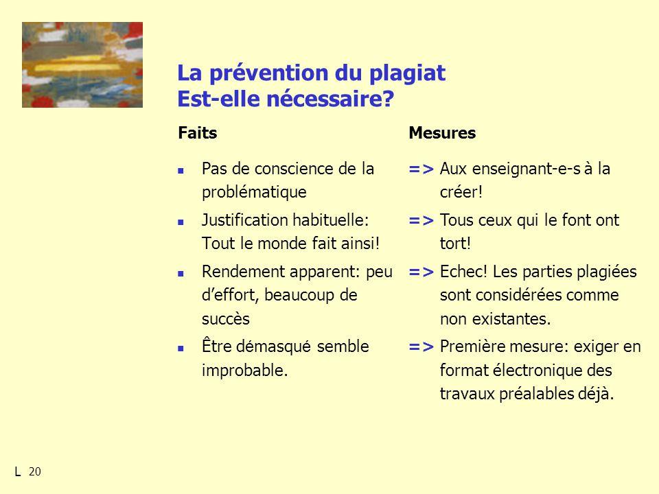 20 La prévention du plagiat Est-elle nécessaire.