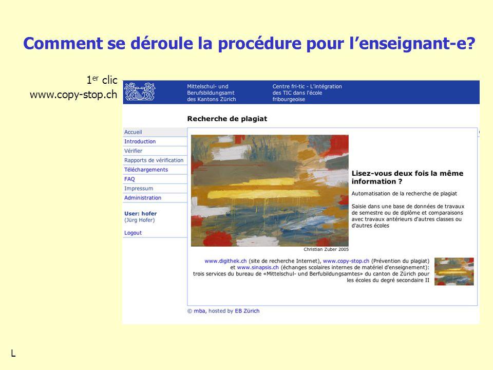 Comment se déroule la procédure pour lenseignant-e 1 er clic www.copy-stop.ch L