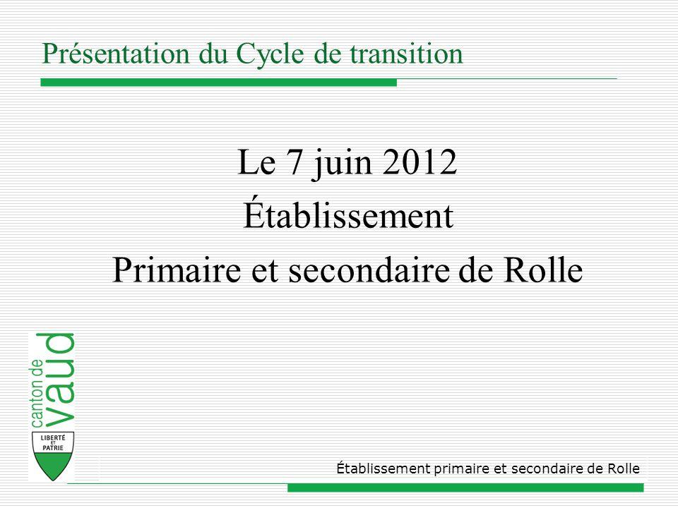 Présentation du Cycle de transition Le 7 juin 2012 Établissement Primaire et secondaire de Rolle Établissement primaire et secondaire de Rolle