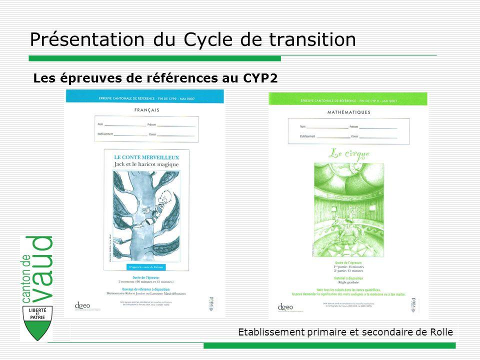 Présentation du Cycle de transition Etablissement primaire et secondaire de Rolle Les épreuves de références au CYP2