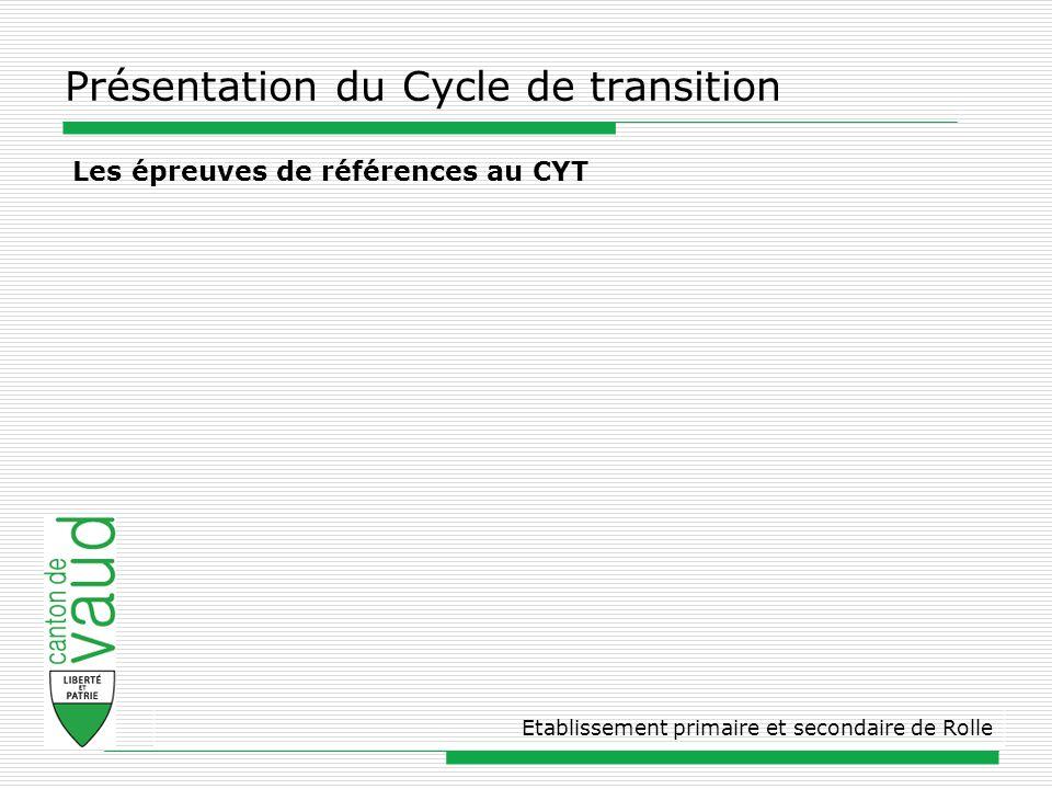 Présentation du Cycle de transition Etablissement primaire et secondaire de Rolle Les épreuves de références au CYT