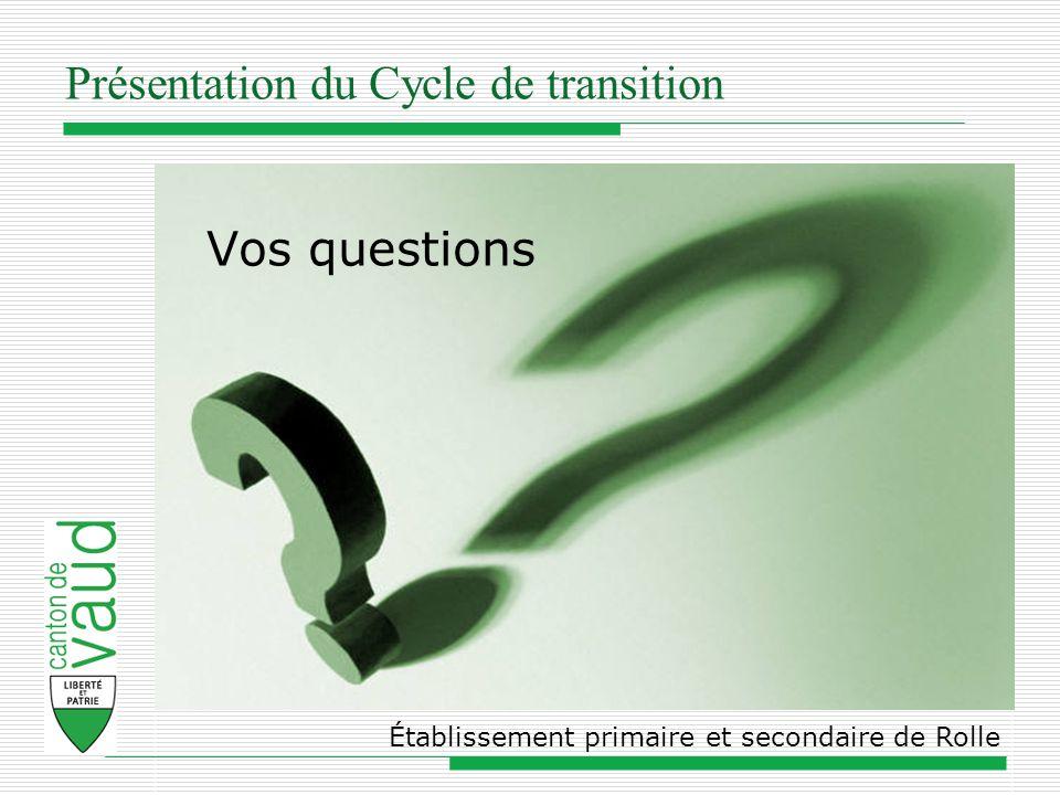 Présentation du Cycle de transition Établissement primaire et secondaire de Rolle Vos questions