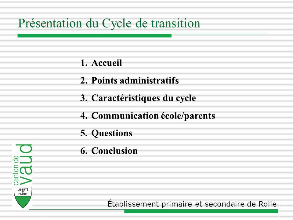 Présentation du Cycle de transition Établissement primaire et secondaire de Rolle 1.Accueil 2.Points administratifs 3.Caractéristiques du cycle 4.Communication école/parents 5.Questions 6.Conclusion