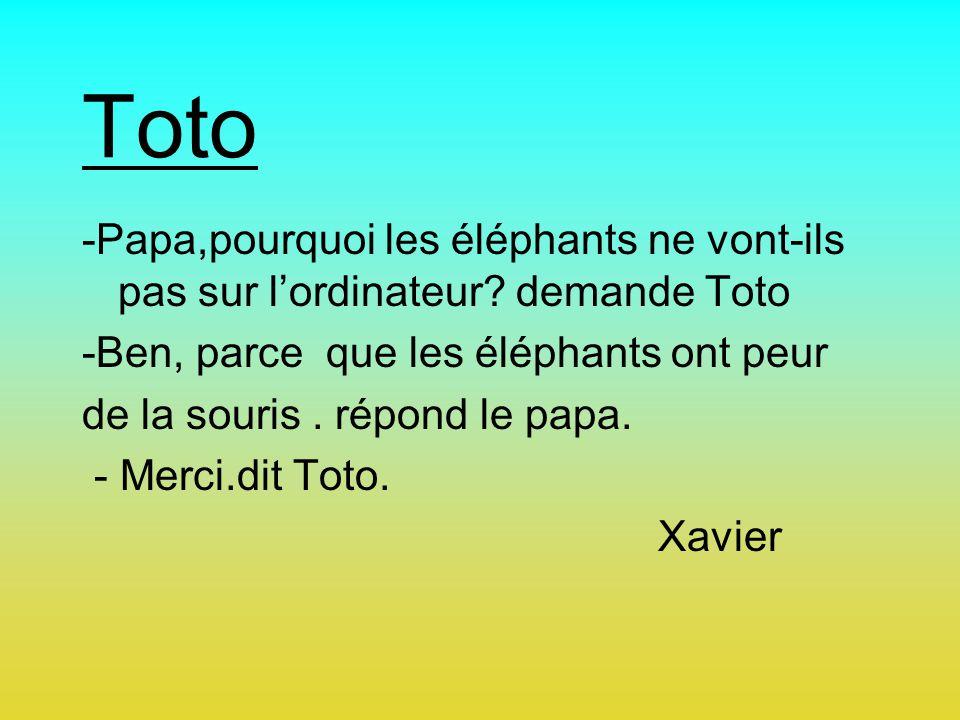 Toto -Papa,pourquoi les éléphants ne vont-ils pas sur lordinateur? demande Toto -Ben, parce que les éléphants ont peur de la souris. répond le papa. -