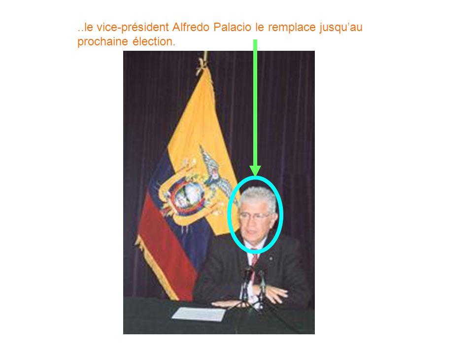 ..le vice-président Alfredo Palacio le remplace jusquau prochaine élection.