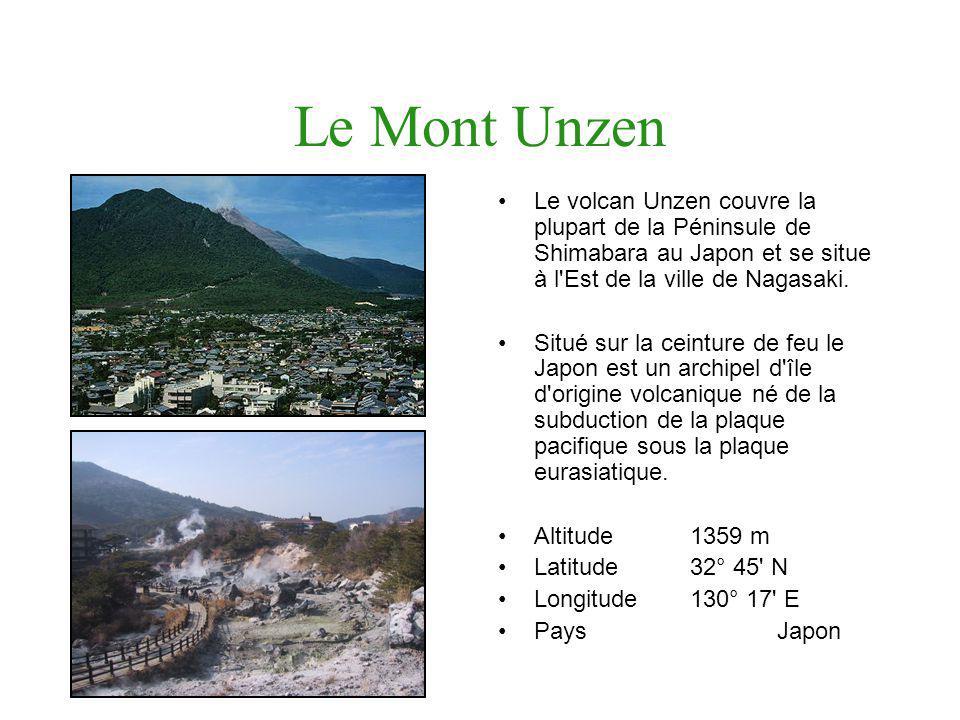 Le Mont Unzen Le volcan Unzen couvre la plupart de la Péninsule de Shimabara au Japon et se situe à l'Est de la ville de Nagasaki. Situé sur la ceintu