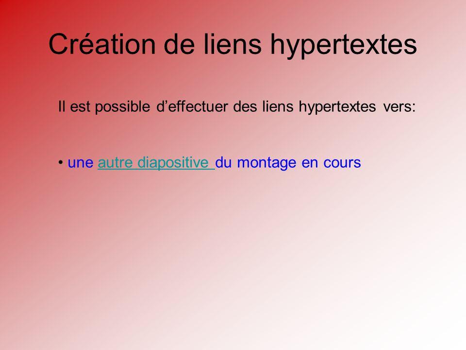 Création de liens hypertextes Il est possible deffectuer des liens hypertextes vers: une autre diapositive du montage en coursautre diapositive