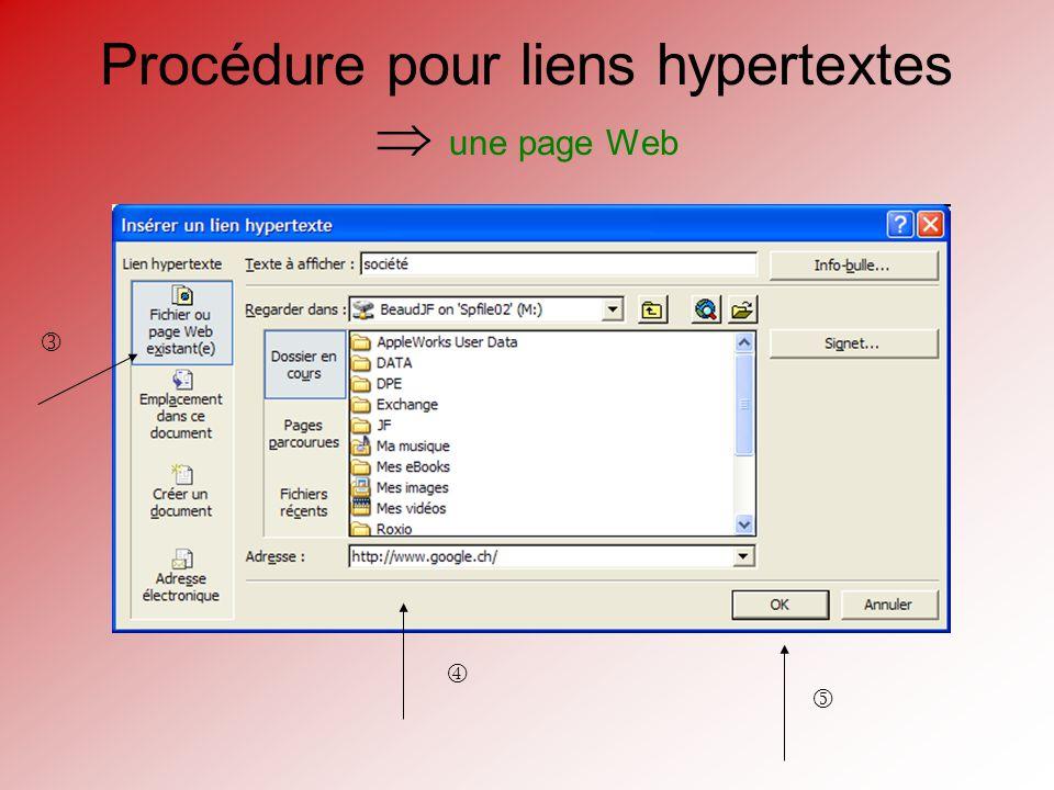 Procédure pour liens hypertextes une page Web