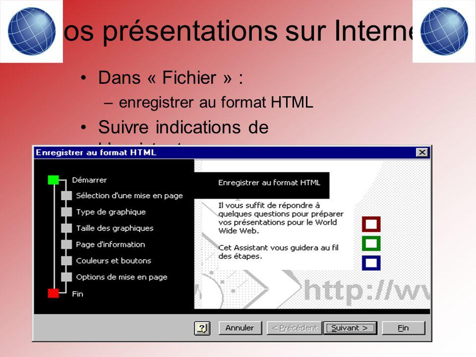 Vos présentations sur Internet Dans « Fichier » : –enregistrer au format HTML Suivre indications de l assistant.