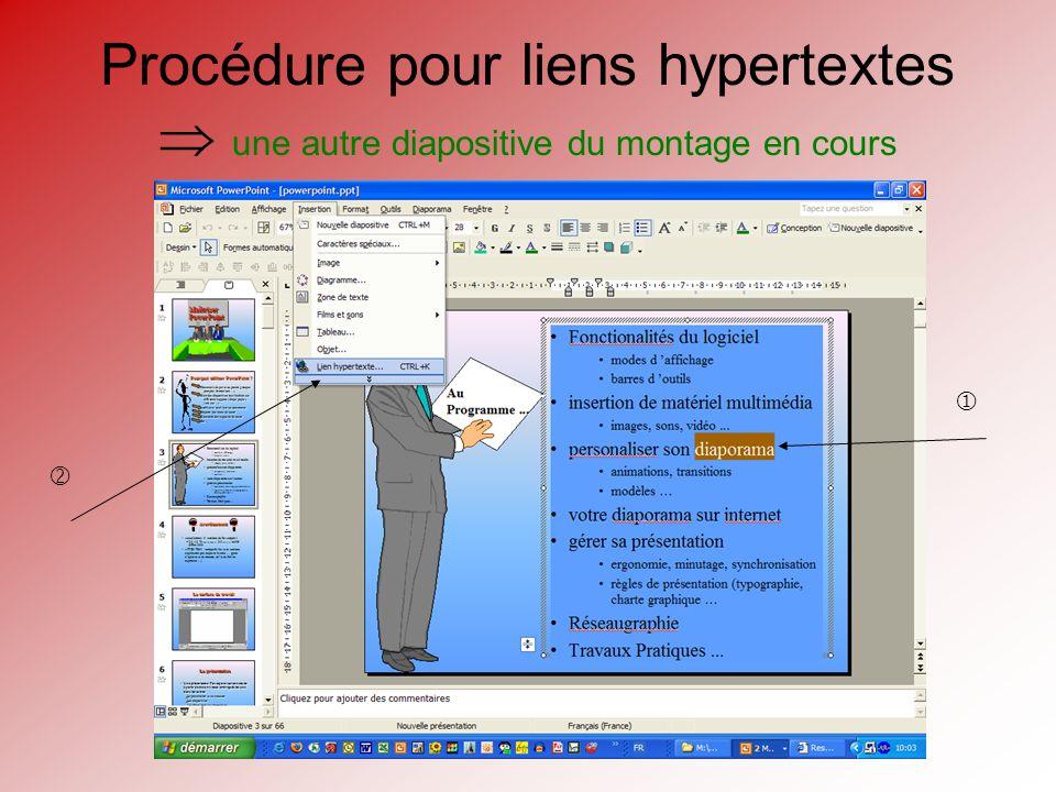 Procédure pour liens hypertextes une autre diapositive du montage en cours Le lien devient actif en mode « Diaporama »