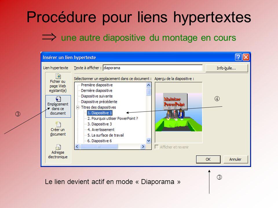 Création de liens hypertextes Il est possible deffectuer des liens hypertextes vers: un autre montage PPTautre montage PPT