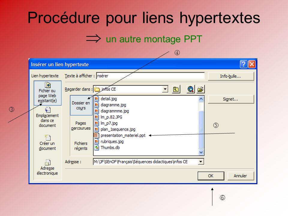 Procédure pour liens hypertextes un autre montage PPT