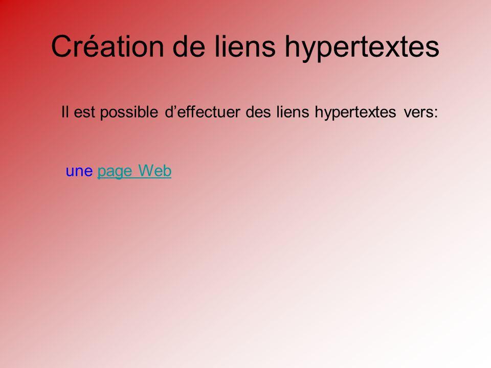 Création de liens hypertextes Il est possible deffectuer des liens hypertextes vers: une page Webpage Web