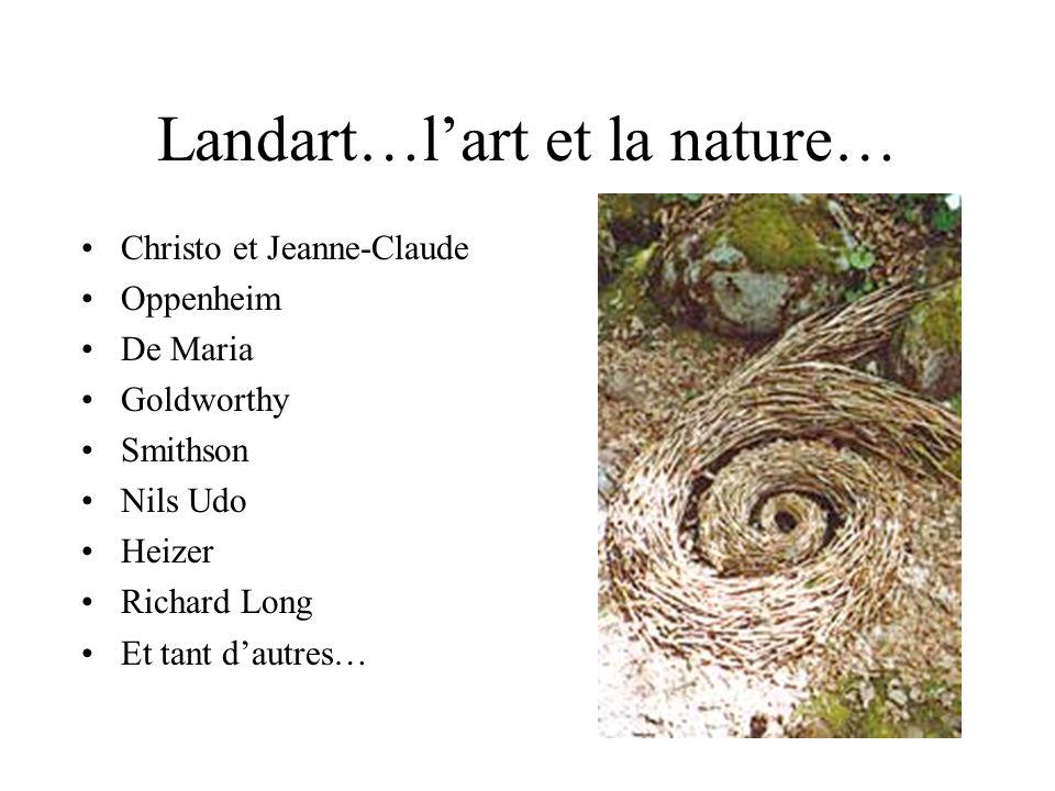 Landart…lart et la nature… Christo et Jeanne-Claude Oppenheim De Maria Goldworthy Smithson Nils Udo Heizer Richard Long Et tant dautres…