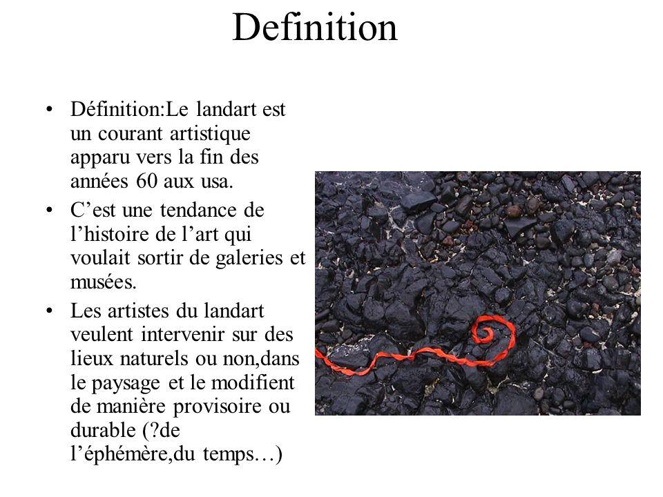 Definition Définition:Le landart est un courant artistique apparu vers la fin des années 60 aux usa. Cest une tendance de lhistoire de lart qui voulai