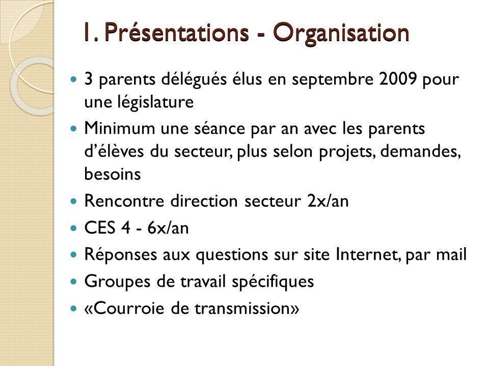 1. Présentations - Organisation 3 parents délégués élus en septembre 2009 pour une législature Minimum une séance par an avec les parents délèves du s