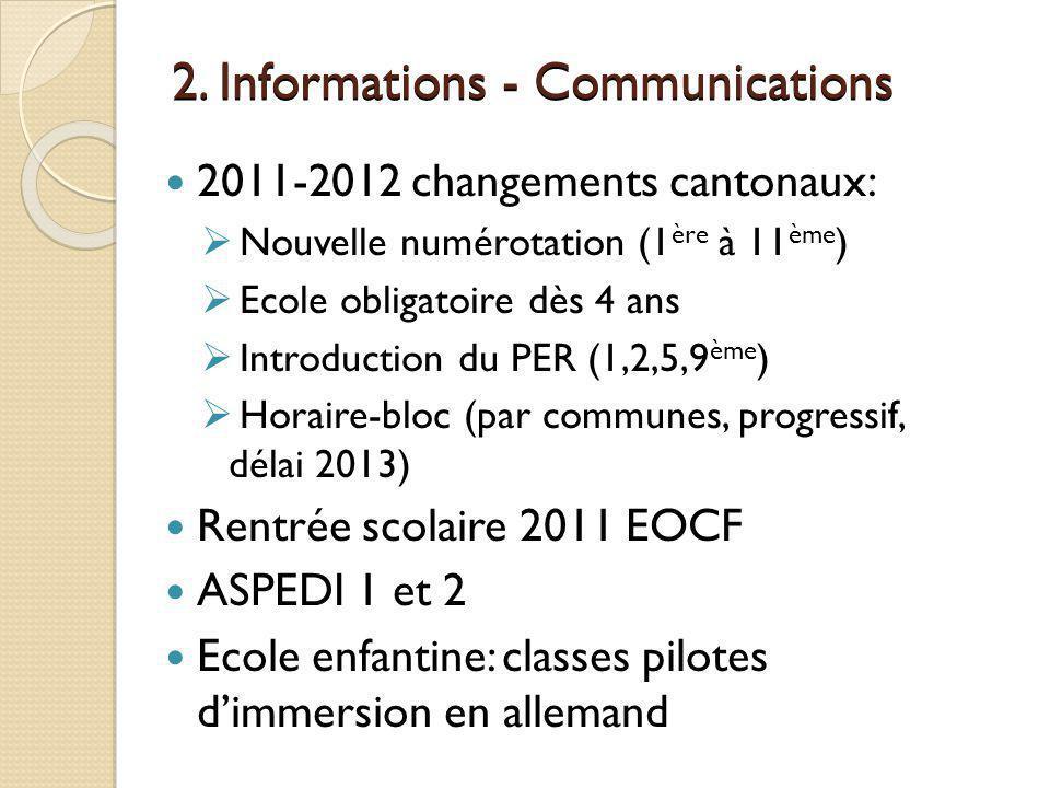 2. Informations - Communications 2011-2012 changements cantonaux: Nouvelle numérotation (1 ère à 11 ème ) Ecole obligatoire dès 4 ans Introduction du