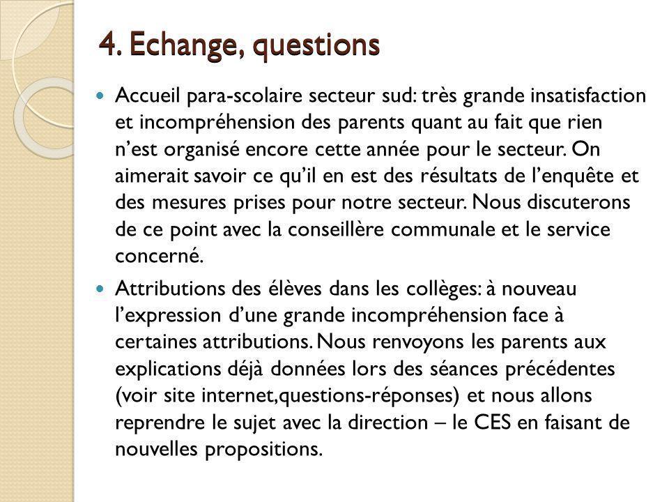 4.Echange, questions (suite) Le secteur sud part en camp de ski cette année.