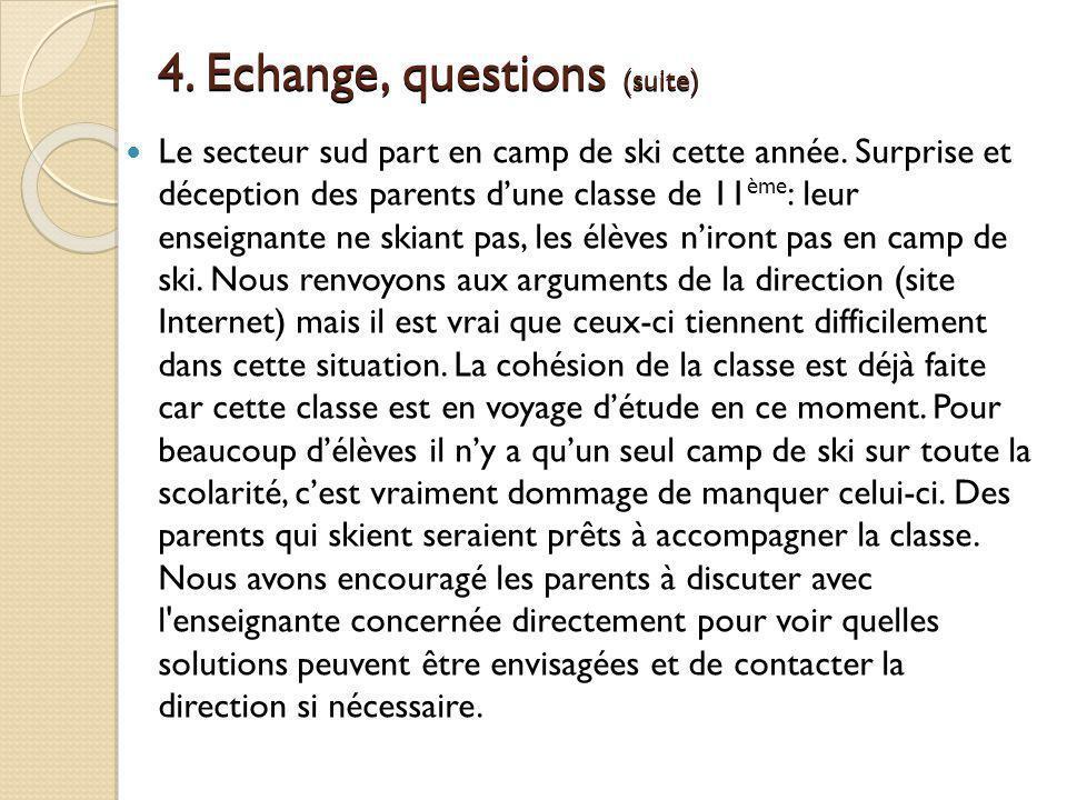 4. Echange, questions (suite) Le secteur sud part en camp de ski cette année. Surprise et déception des parents dune classe de 11 ème : leur enseignan