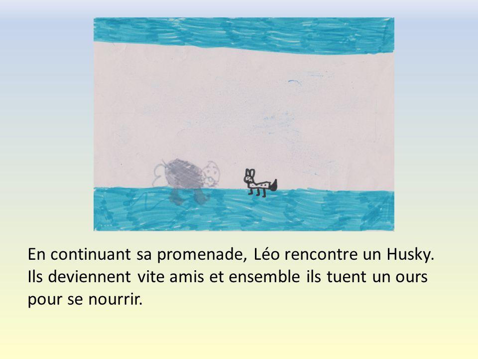 Après ce bon repas, Léo se remet seul en chemin.Il croise alors un orque.