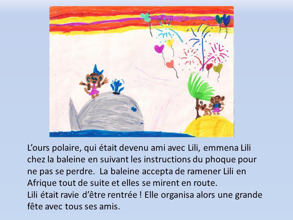 Lours polaire, qui était devenu ami avec Lili, emmena Lili chez la baleine en suivant les instructions du phoque pour ne pas se perdre.