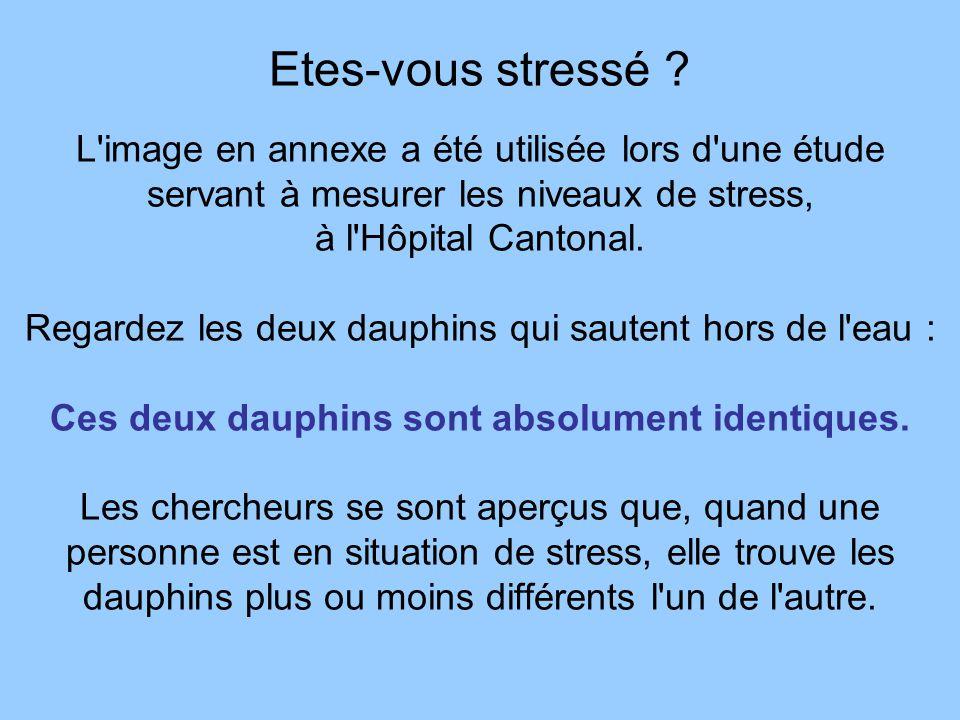 Etes-vous stressé ? L'image en annexe a été utilisée lors d'une étude servant à mesurer les niveaux de stress, à l'Hôpital Cantonal. Regardez les deux
