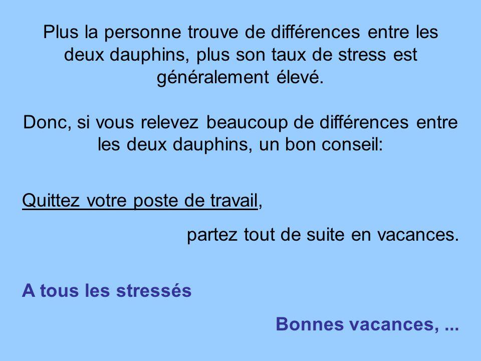 Plus la personne trouve de différences entre les deux dauphins, plus son taux de stress est généralement élevé.