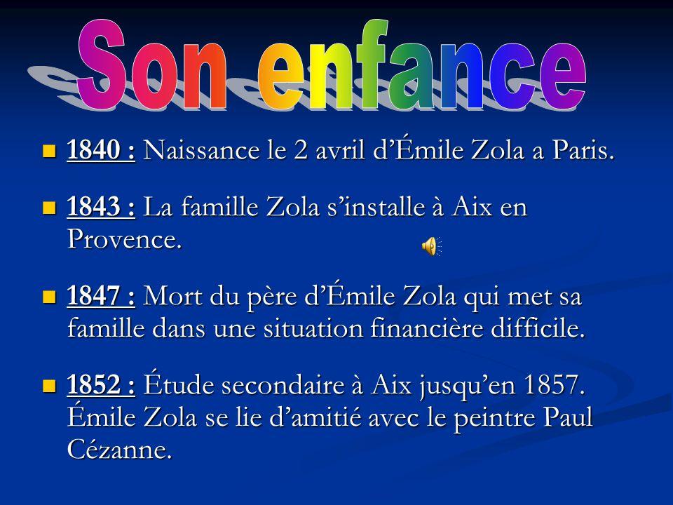 1840 : Naissance le 2 avril dÉmile Zola a Paris. 1840 : Naissance le 2 avril dÉmile Zola a Paris. 1843 : La famille Zola sinstalle à Aix en Provence.
