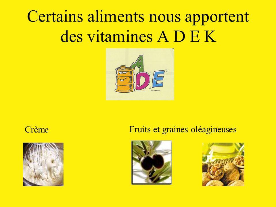 Certains aliments nous apportent des vitamines A D E K Crème Fruits et graines oléagineuses