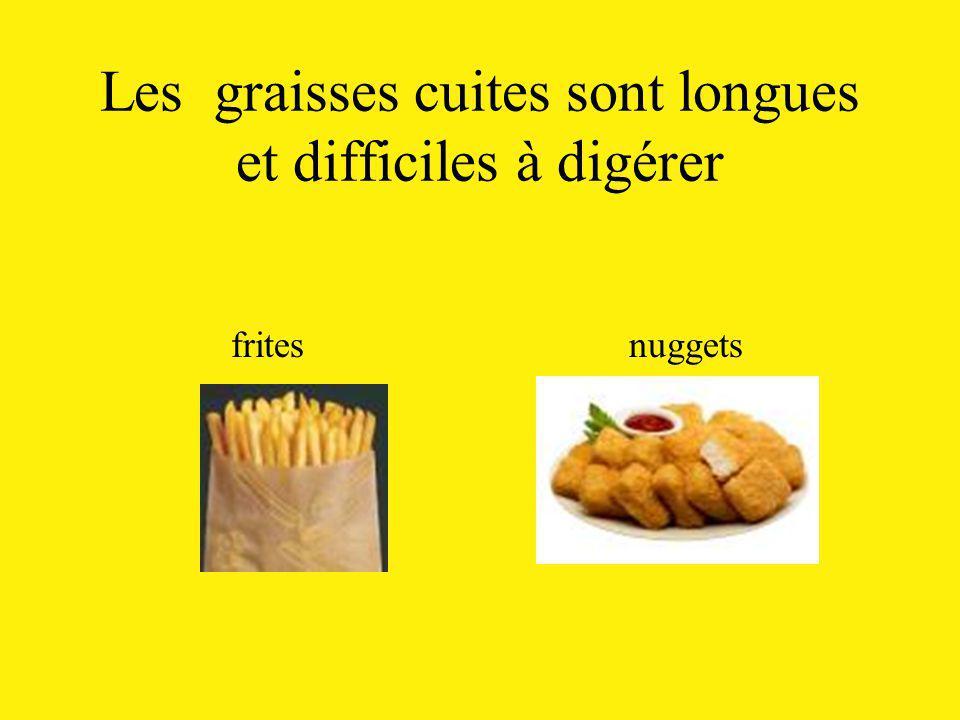 Les graisses cuites sont longues et difficiles à digérer frites nuggets
