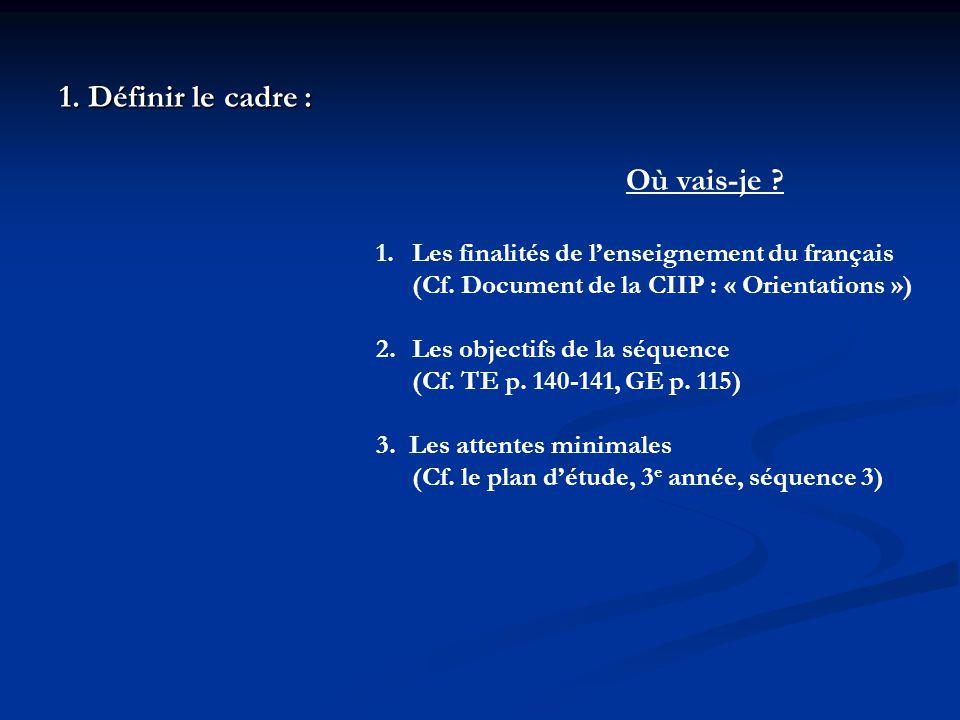 1. Définir le cadre: 1. Définir le cadre : Où vais-je ? 1.Les finalités de lenseignement du français (Cf. Document de la CIIP : « Orientations ») 2.Le