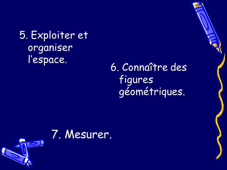 5. Exploiter et organiser lespace. 6. Connaître des figures géométriques. 7. Mesurer.