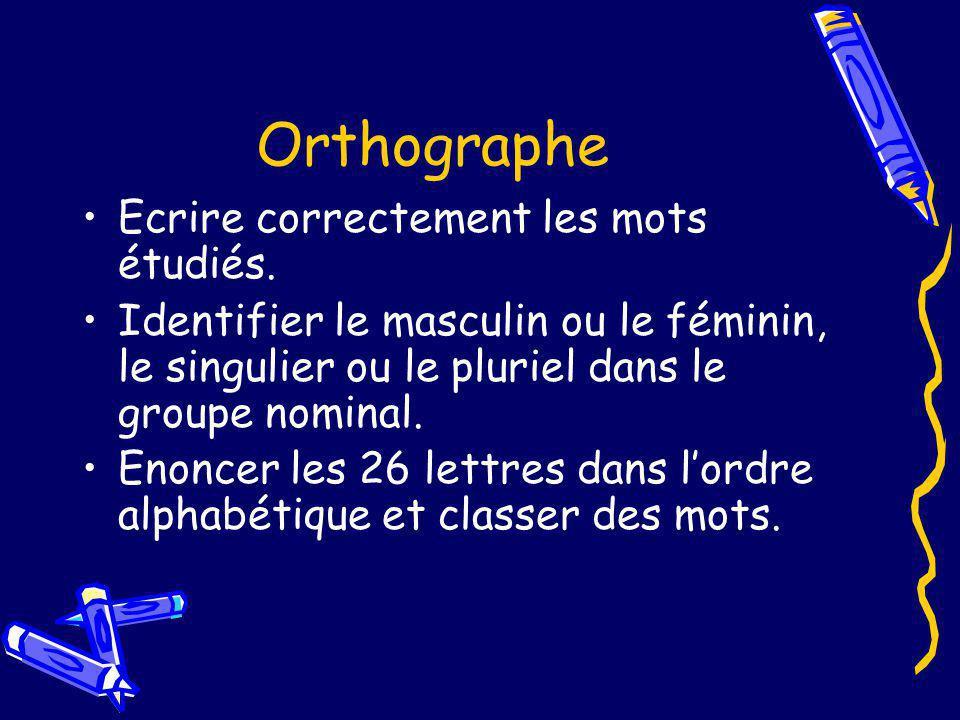 Orthographe Ecrire correctement les mots étudiés. Identifier le masculin ou le féminin, le singulier ou le pluriel dans le groupe nominal. Enoncer les