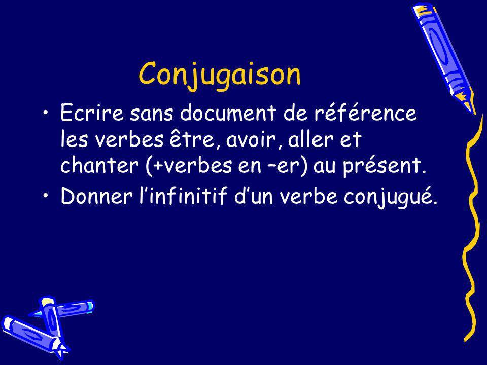 Conjugaison Ecrire sans document de référence les verbes être, avoir, aller et chanter (+verbes en –er) au présent. Donner linfinitif dun verbe conjug