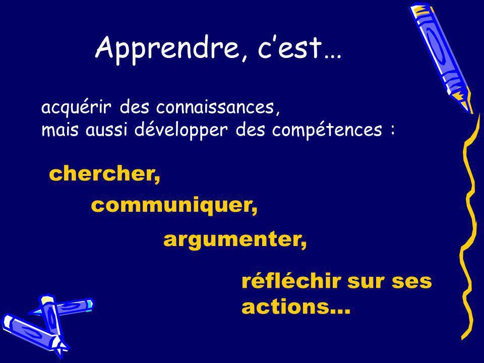 Apprendre, cest… acquérir des connaissances, mais aussi développer des compétences : chercher, communiquer, argumenter, réfléchir sur ses actions…