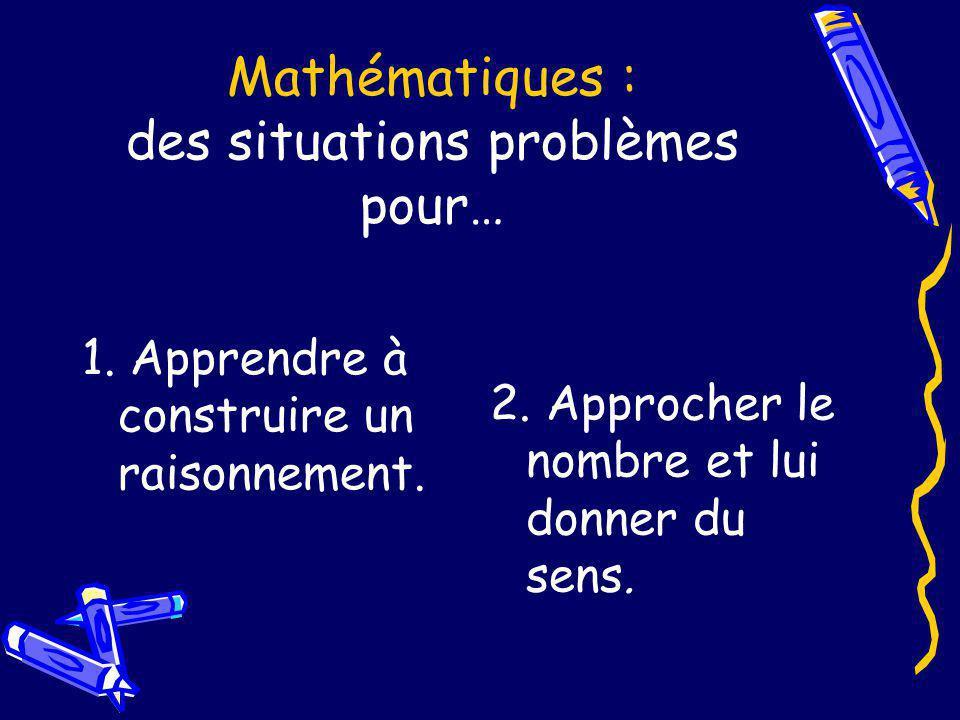 Mathématiques : des situations problèmes pour… 1. Apprendre à construire un raisonnement. 2. Approcher le nombre et lui donner du sens.