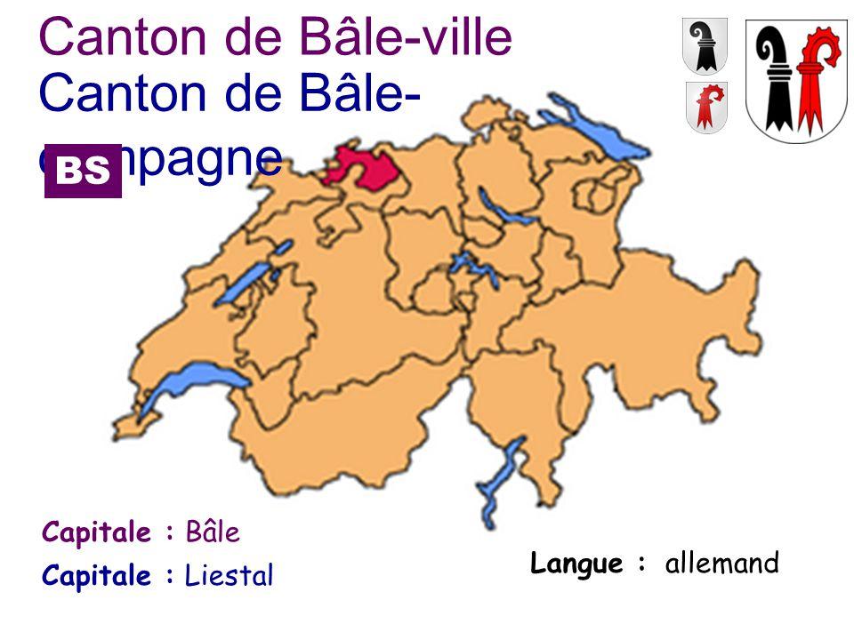 Capitale : Langue : Bâle allemand Canton de Bâle-ville Capitale :Liestal Canton de Bâle- campagne BS