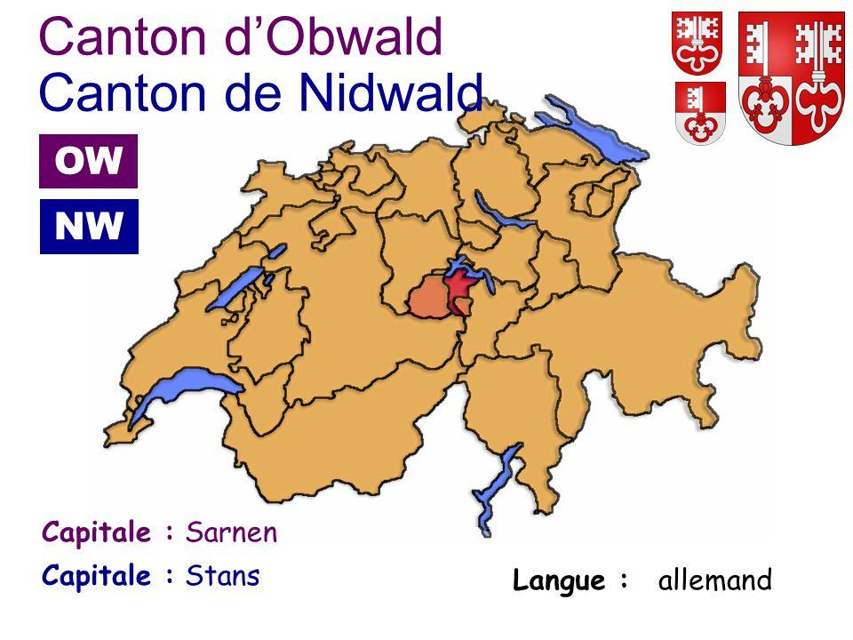 Stans Capitale : Langue : allemand Canton dObwald Capitale : Canton de Nidwald Sarnen OW NW