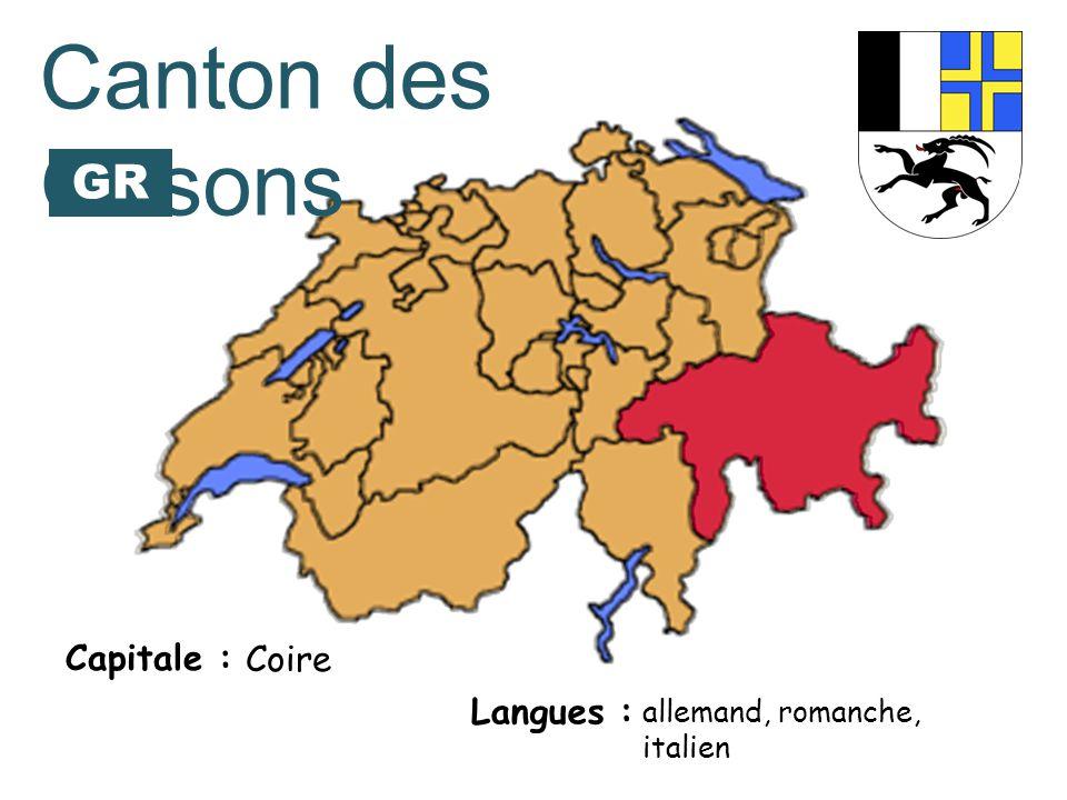 Capitale : Langues : allemand, romanche, italien Canton des Grisons Coire GR