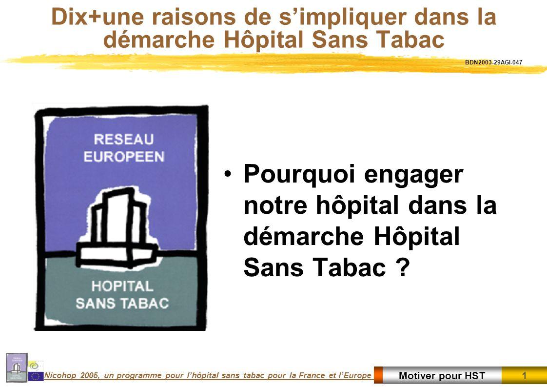1 1Motiver pour HST Nicohop 2005, un programme pour lhôpital sans tabac pour la France et lEurope Dix+une raisons de simpliquer dans la démarche Hôpital Sans Tabac Pourquoi engager notre hôpital dans la démarche Hôpital Sans Tabac .