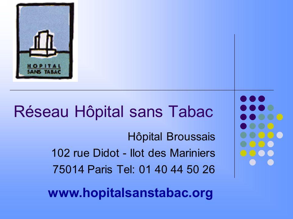 Réseau Hôpital sans Tabac Hôpital Broussais 102 rue Didot - Ilot des Mariniers 75014 Paris Tel: 01 40 44 50 26 www.hopitalsanstabac.org